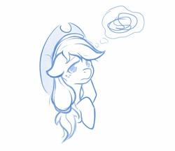 Size: 1034x893   Tagged: safe, artist:ratofdrawn, character:applejack, species:earth pony, species:pony, bust, female, floppy ears, hoof on head, mare, monochrome, sad, solo