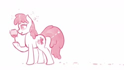 Size: 1600x900   Tagged: safe, artist:ratofdrawn, character:berry punch, character:berryshine, species:earth pony, species:pony, alcohol, drunk, female, glass, mare, monochrome, solo, wine, wine glass