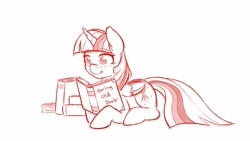 Size: 1600x900   Tagged: safe, artist:ratofdrawn, character:twilight sparkle, character:twilight sparkle (alicorn), species:alicorn, species:pony, book, female, mare, monochrome, prone, reading, smiling, solo