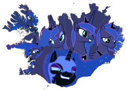 Size: 1200x850 | Tagged: safe, artist:90sigma, artist:chrzanek97, artist:dashiesparkle, artist:gamemasterluna, artist:maishida, artist:otaku-kun9, artist:yanoda, edit, edited screencap, screencap, character:nightmare moon, character:princess luna, species:alicorn, species:pony, g4, expressions, iceland, map, ponies as regions, simple background, transparent background