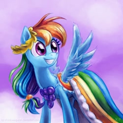 Size: 1000x1000   Tagged: safe, artist:kp-shadowsquirrel, character:rainbow dash, species:pegasus, species:pony, episode:the best night ever, g4, my little pony: friendship is magic, clothing, cute, dashabetes, dress, excited, female, gala dress, grin, happy, mare, smiling, solo, spread wings, squee, wings