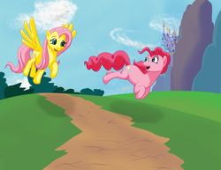 Size: 1024x791 | Tagged: safe, artist:acesential, character:fluttershy, character:pinkie pie, g4, canterlot