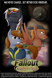 Size: 1024x1517 | Tagged: safe, artist:acesential, oc, oc only, oc:calamity, oc:littlepip, oc:velvet remedy, species:pegasus, species:pony, species:unicorn, fallout equestria, g4, battle saddle, canterlot, clothing, fanfic, fanfic art, female, gun, hat, male, mare, pipbuck, poster, stable 2, stallion, vault suit, weapon