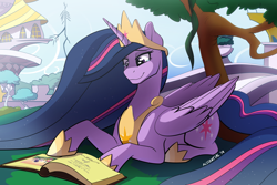 Size: 1920x1280 | Tagged: safe, artist:acesential, character:twilight sparkle, character:twilight sparkle (alicorn), species:alicorn, species:pony, episode:the last problem, g4, my little pony: friendship is magic, book, bookends, canterlot, female, mare, princess twilight 2.0, prone, smiling, solo, teary eyes, tree