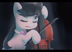 Size: 1474x1080 | Tagged: safe, artist:lexiedraw, character:octavia melody, species:earth pony, species:pony, bowtie, cello, cello bow, eyes closed, hoof hold, musical instrument, solo
