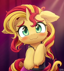 Size: 2160x2400 | Tagged: safe, artist:symbianl, character:sunset shimmer, species:pony, species:unicorn, g4, :3, equestria girls outfit, looking at you, raised hoof, smiling, solo