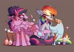 Size: 4093x2894 | Tagged: safe, artist:shore2020, character:rainbow dash, character:twilight sparkle, species:alicorn, species:pegasus, species:pony, g4, bath, brush, puffed chest
