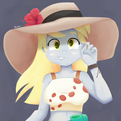 Size: 1800x1800 | Tagged: safe, artist:biocrine, character:derpy hooves, species:eqg human, g4, blushing, bust, clothing, hat, looking at you, simple background, smiling, solo, sun hat, tanktop