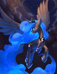 Size: 2400x3106   Tagged: safe, artist:dawnf1re, character:princess luna, species:alicorn, species:pony, cloud, flying, night, regalia, sky, solo, starry mane, stars