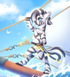 Size: 1926x2125   Tagged: oc needed, safe, artist:strafe blitz, oc, oc only, species:zebra, g4, belt, complex background, rigging, sailing, sea, sword