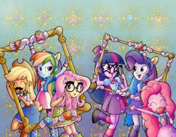 Size: 2061x1596 | Tagged: safe, artist:agnesgarbowska, idw, character:applejack, character:fluttershy, character:pinkie pie, character:rainbow dash, character:rarity, character:twilight sparkle, species:eqg human, equestria girls:equestria girls, g4, my little pony: equestria girls, my little pony:equestria girls, applejack's hat, belt, blouse, boots, clothing, cover, cowboy hat, denim skirt, elements of harmony, frame, glasses, hat, mane six, official art, pleated skirt, props, shirt, shoes, simple background, skirt, stetson, t-shirt