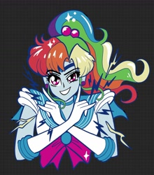 Size: 1500x1707 | Tagged: safe, artist:sophieascruggs, character:rainbow dash, species:eqg human, g4, black background, bust, ponytail, sailor jupiter, sailor moon, sailor uniform, solo