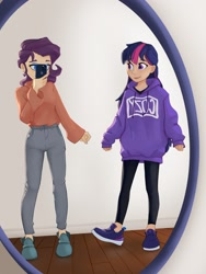 Size: 1536x2048 | Tagged: safe, artist:lilfunkman, character:rarity, character:twilight sparkle, species:human, g4, cellphone, clothing, hoodie, humanized, mirror, selfie