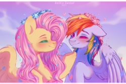 Size: 3000x2000 | Tagged: safe, artist:bsweethurt, character:fluttershy, character:rainbow dash, species:pegasus, species:pony, g4, beautiful, eyes closed, flower in hair, smiling