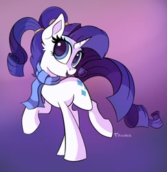 Size: 1945x2000 | Tagged: safe, artist:sadtrooper, character:rarity, species:pony, species:unicorn, g4, alternate version, clothing, raised hoof, scarf, simple background, solo, twintails