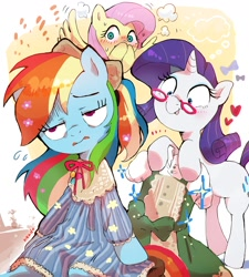 Size: 1932x2143 | Tagged: safe, artist:nendo, character:fluttershy, character:rainbow dash, character:rarity, species:pony, g4, clothing, rainbow dash always dresses in style