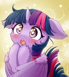 Size: 2160x2400 | Tagged: safe, artist:symbianl, character:twilight sparkle, character:twilight sparkle (alicorn), species:alicorn, g4, blushing, bust, floppy ears, open mouth, self winghug, simple background, solo, wingding eyes