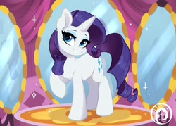 Size: 2269x1627 | Tagged: safe, artist:colorfulcolor233, character:rarity, species:pony, species:unicorn, g4, head turn, mirror, raised hoof, signature, solo