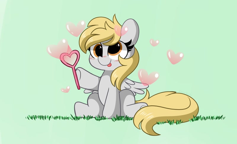 Size: 4096x2496 | Tagged: safe, artist:kittyrosie, character:derpy hooves, species:pegasus, species:pony, g4, blep, bubble, cute, heart, hoof hold, sitting, solo, tongue out
