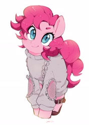 Size: 2480x3508 | Tagged: safe, artist:potetecyu_to, character:pinkie pie, species:earth pony, species:pony, g4, clothing, cute, diapinkes, head tilt, looking at you, sandals, short hair, short mane, simple background, solo, sweater, white background