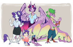 Size: 1280x829 | Tagged: safe, artist:earthsong9405, character:rarity, character:spike, character:twilight sparkle, species:alicorn, species:anthro, species:bat pony, species:dragon, species:pony, species:unicorn, ship:rarilight, lesbian, shipping, simple background