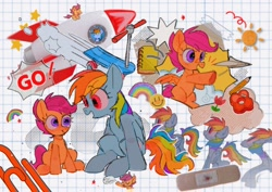 Size: 1754x1240 | Tagged: safe, artist:o__666, character:rainbow dash, character:scootaloo, species:pegasus, species:pony, bandage, blood, dialogue, grid paper, paper airplane, paperclip, pencil, rainbow, rocket, scooter, stars, sun