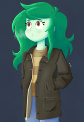 Size: 1300x1900 | Tagged: safe, artist:biocrine, character:wallflower blush, species:eqg human, g4, breath, clothing, coat, cold, simple background, solo