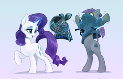 Size: 1280x828 | Tagged: safe, artist:xbi, character:maud pie, character:rarity, species:earth pony, species:pony, species:unicorn, g4, clothing, glowing horn, magic, simple background, standing on two hooves, telekinesis, undressing