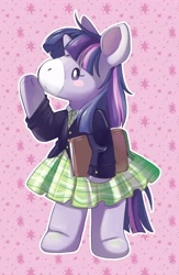 Size: 2666x4096 | Tagged: safe, artist:cutepencilcase, character:twilight sparkle, g4, book, clothing, coat, plushie, simple background, skirt