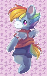 Size: 2539x4096 | Tagged: safe, artist:cutepencilcase, character:rainbow dash, g4, looking back, plushie, shorts, simple background, solo, t-shirt