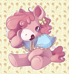 Size: 1122x1200 | Tagged: safe, artist:cutepencilcase, character:pinkie pie, g4, plushie, ribbon, shawl, simple background, sitting, solo