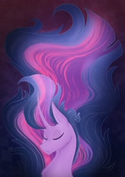 Size: 1448x2048 | Tagged: safe, artist:valeramoongod, character:twilight sparkle, character:twilight sparkle (unicorn), species:unicorn, g4, bust, ethereal mane, eyes closed, glowing mane, simple background, solo