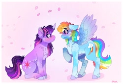 Size: 3174x2160 | Tagged: safe, artist:aaa-its-spook, character:rainbow dash, character:twilight sparkle, species:pegasus, species:pony, species:unicorn, ship:twidash, g4, blushing, feather, flower petals, looking at each other, mouth hold, petals, raised hoof, simple background, spread wings, wings