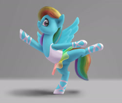 Size: 1920x1611 | Tagged: safe, artist:odooee, character:rainbow dash, species:pegasus, species:pony, ballerina, dress, looking at you, profile, simple background, smiling, solo, tutu, wings extended