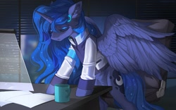 Size: 1596x998 | Tagged: safe, artist:margony, artist:shadowreindeer, character:princess luna, species:alicorn, species:pony, g4, art trade, clothing, collaboration, crossover, detroit: become human, female, indoors, mare, night, office, official, open mouth, video game crossover