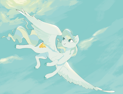 Size: 1280x979 | Tagged: safe, artist:super-slowpoke, character:vapor trail, species:pegasus, species:pony, eye clipping through hair, female, flying, mare, sky, smiling, solo