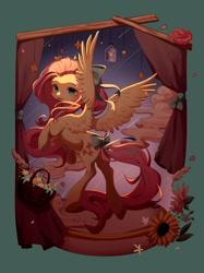 Size: 1534x2048 | Tagged: safe, artist:leafywind, character:fluttershy, species:pegasus, species:pony, g4, complex background, head turn, lighting, looking back, solo, spread wings, wings