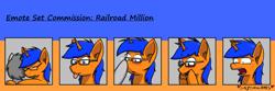 Size: 1500x500 | Tagged: safe, artist:skydreams, oc, oc:railroad million, species:pony, species:unicorn, :p, blep, boop, commission, disturbed, eee, emoji, emotes, glasses, hug, male, stallion, tongue out