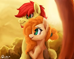 Size: 1280x1024 | Tagged: safe, artist:raphaeldavid, character:bright mac, character:pear butter, species:pony, ship:brightbutter, g4, female, male, shipping, solo, straight