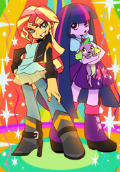 Size: 1280x1829 | Tagged: safe, artist:hanasakiyunarin, character:spike, character:sunset shimmer, character:twilight sparkle, g4, my little pony:equestria girls, anime, dog, female, panty and stocking with garterbelt, parody, style emulation, trio