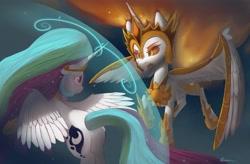 Size: 4096x2682 | Tagged: safe, artist:auroriia1, character:daybreaker, character:princess celestia, species:alicorn, species:pony, g4, battle, magic, magic bubble, simple background, solo