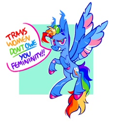 Size: 1042x1119   Tagged: safe, artist:occultusion, character:rainbow dash, species:pegasus, species:pony, g4, colored hooves, dialogue, flying, gender headcanon, headcanon, lgbt headcanon, mohawk, short hair, simple background, solo, speech bubble, spread wings, text, trans female rainbow dash, trans girl, trans rainbow dash, transgender, transgender pride flag, wings