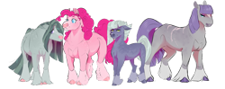 Size: 1024x404 | Tagged: safe, artist:vindhov, character:limestone pie, character:marble pie, character:maud pie, character:pinkie pie, species:earth pony, species:pony, g4, alternate design, scar