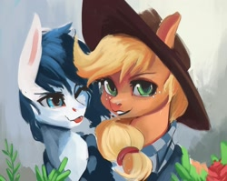 Size: 1598x1272 | Tagged: safe, artist:hierozaki, character:applejack, oc, oc:constance everheart, species:earth pony, species:pony, g4, applejack's hat, blep, bust, canon x oc, simple background, stetson, tongue out