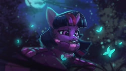 Size: 1920x1080 | Tagged: safe, artist:hierozaki, character:twilight sparkle, species:alicorn, species:pony, g4, butterfly, clothing, moon, moonlight, night, scarf, solo