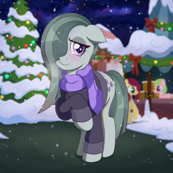 Size: 2048x2048 | Tagged: safe, artist:nathayro37, character:marble pie, species:earth pony, species:pony, g4, blushing, clothing, looking at you, raised hoof, scarf, solo, sweater, winter