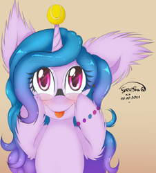 Size: 2328x2578   Tagged: safe, artist:freefraq, character:izzy moonbow, species:pony, species:unicorn, g5, my little pony: a new generation, :p, ball, blep, blushing, bracelet, childproof horn, cute, ear fluff, eyebrows visible through hair, female, glasses, gradient background, gradient mane, horn, hornball, izzy's tennis ball, jewelry, leg fluff, looking at you, mare, multicolored hair, signature, simple background, solo, tennis ball, tongue out, toy