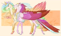 Size: 9600x5700   Tagged: safe, artist:iceofwaterflock, character:princess celestia, character:queen novo, species:alicorn, species:classical hippogriff, species:hippogriff, species:pony, ship:novolestia, g4, alternate design, dewclaw, duo, duo female, ethereal mane, female, females only, horn, jewelry, lesbian, necklace, peytral, realistic anatomy, realistic horse legs, shipping, simple background, smiling, tiara, walking, wings