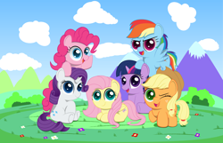 Size: 3100x2000   Tagged: safe, artist:spellboundcanvas, character:applejack, character:fluttershy, character:pinkie pie, character:rainbow dash, character:rarity, character:twilight sparkle, species:earth pony, species:pegasus, species:pony, species:unicorn, g4, chibi, cute, female, flying, happy birthday mlp:fim, looking at you, lying down, mane six, mane six opening poses, mare, mlp fim's eighth anniversary, one eye closed, open mouth, open smile, prone, raised hoof, sitting, smiling, wink