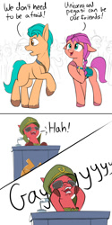 Size: 1000x2000   Tagged: safe, artist:rocket-lawnchair, character:hitch trailblazer, character:sprout, character:sunny starscout, species:earth pony, species:pony, g5, my little pony: a new generation, anti-mind reading cap, colored hooves, comic, community, dialogue, emperor sprout, female, floppy ears, ha gay, hooves, joseph sprout, ken jeong, male, mare, open mouth, podium, scene interpretation, señor chang, simple background, solo, soviet, stallion, sunglasses, unshorn fetlocks, voice actor joke, white background